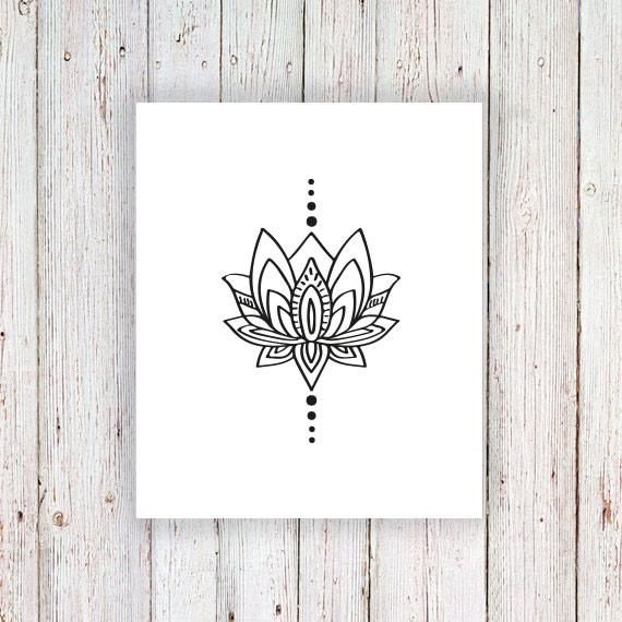 This bohemian lotus temporary tattoo is the perfect accessory this summer! It's cute and stylish at the same time! A temporary tattoo for any occasion! ........