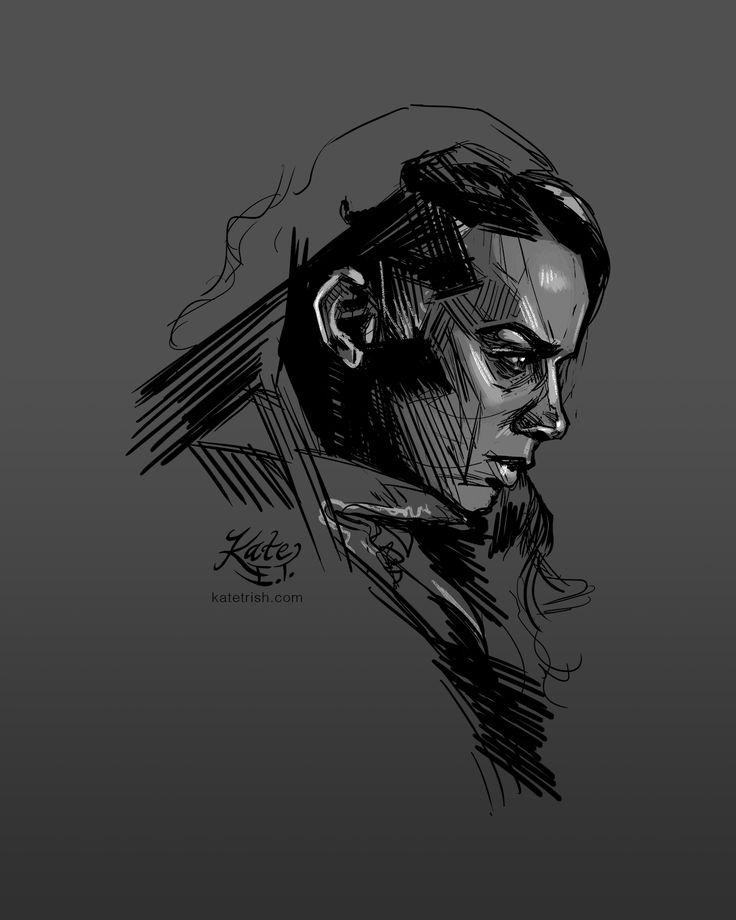 A sketch of Hannah John-Kamen as Dutch (Killjoys - Syfy), 2016 fan art, fanart, drawing, black and white, grayscale, photoshop, artist ...