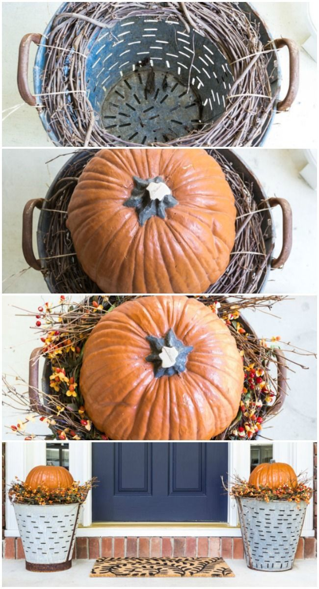 DIY Fall Olive Bucket Pumpkin Planters   Easy way to raise the pumpkins without filling up the olive buckets. Super easy and quick.