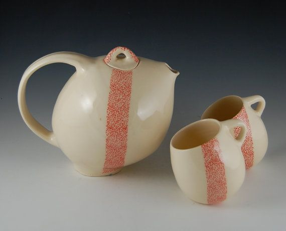 White and Red Teapot Set by taniajulianceramics on Etsy, $128.00
