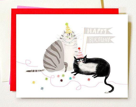 Cat Birthday Card Grey Tux Happy Birthday Cat Mom Or Cat Dad Card Cat Birthday Card Cat Themed Birthday Cards Happy Birthday Cat