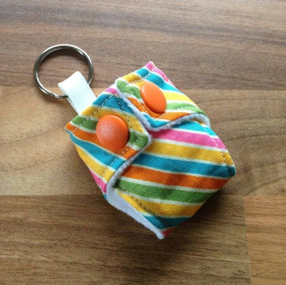 Cloth Diaper Cloth Nappy Mini Keychain Keyring Riley Blake Rainbows and Unicorn Stripes £3