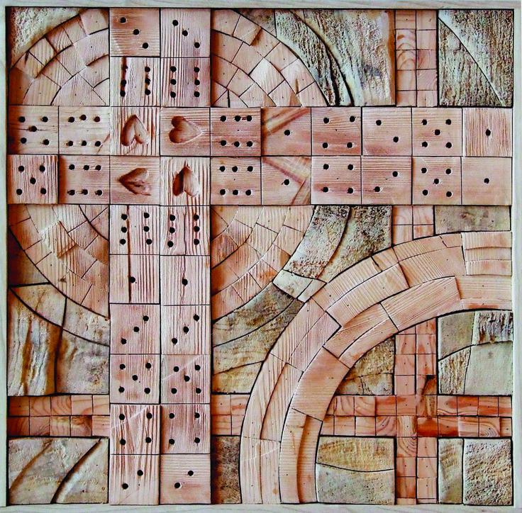 THE CROSSING, different kinds of wood, 60 x 60 cm / KŘIŽOVATKY, různá dřeva , 60 x 60 cm / Viva wood art