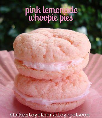 shaken together: {taste this} pretty in pink lemonade cookie cups & whoopie pies