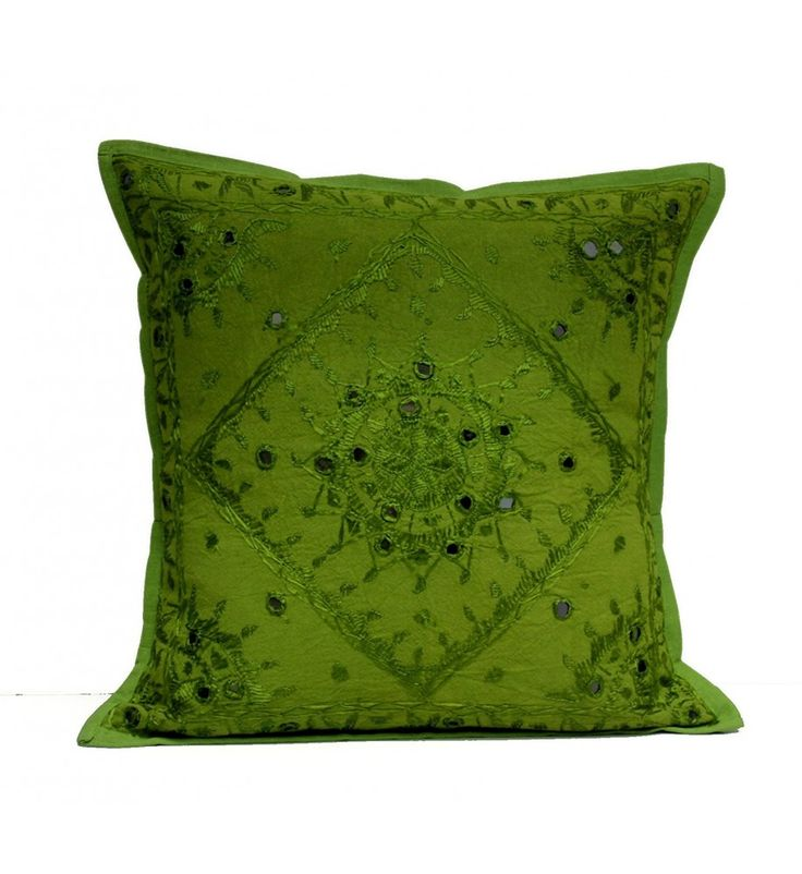Green Mirror Embroidered Decorative Sofa Bohemian Pillow Cushion Throw Cover  16*