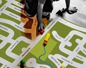 Your neighborhood custom map play mat - MEDIUM - I am Here. $48.50, via Etsy.