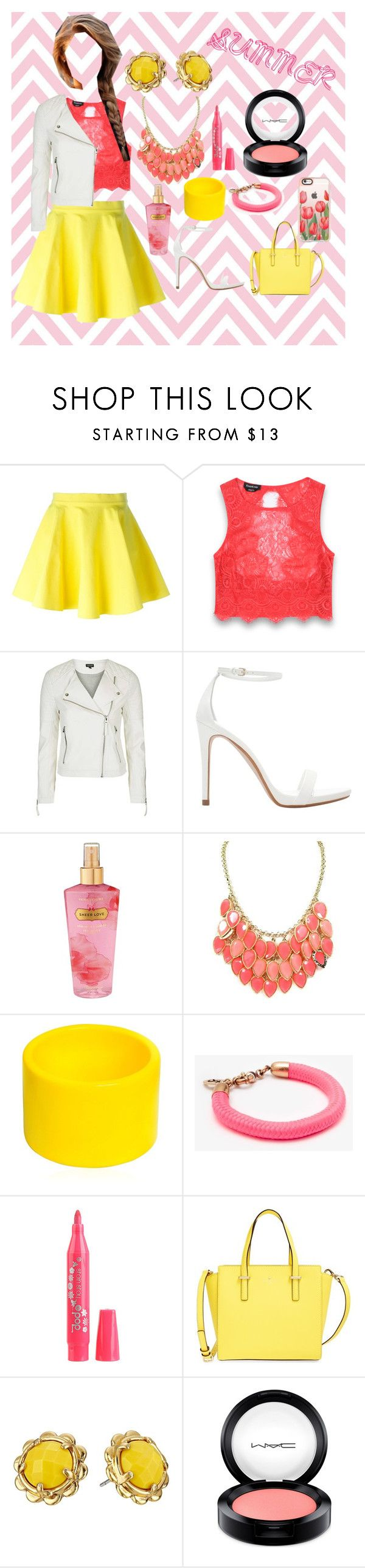 """Fluoro summer picnic outfit"" by bellaslife23 on Polyvore featuring Jeremy Scott, Bebe, Topshop, Zara, Victoria's Secret, Dsquared2, Joules, Pop Beauty, Kate Spade and MAC Cosmetics"