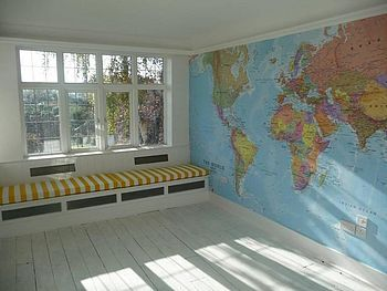 A full wall world map mural, somewhere in the house. I WILL have this one day <3