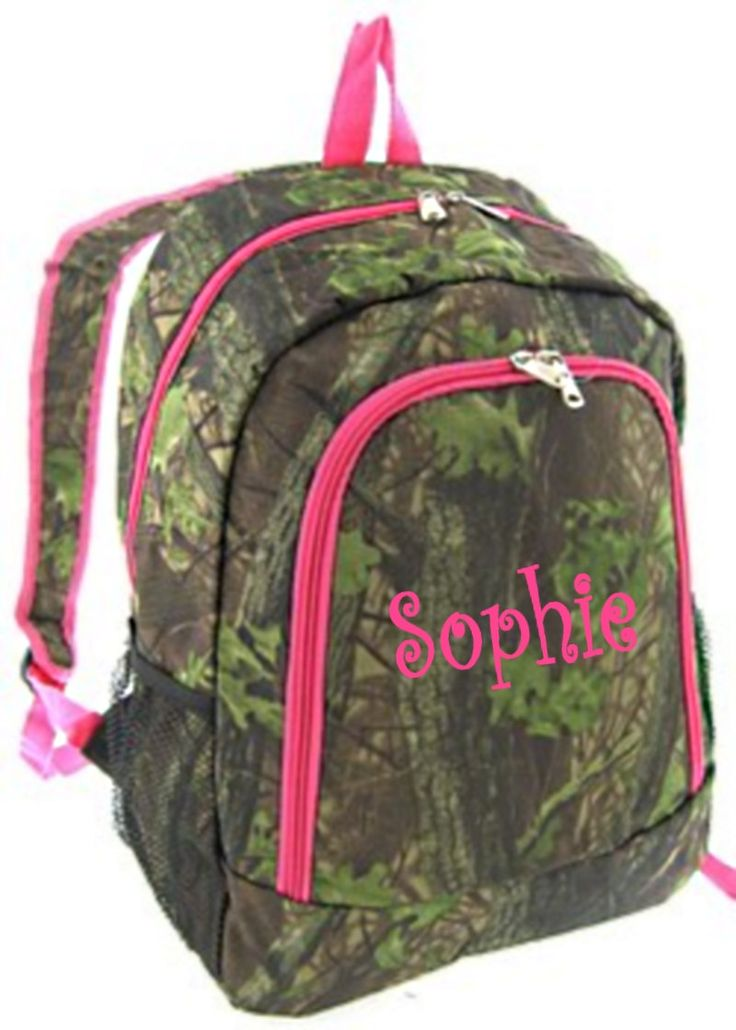 camo backpacks for girls | Personalized Girls Backpack - Canvas Booksack Mossy Oak Pattern Camo ...