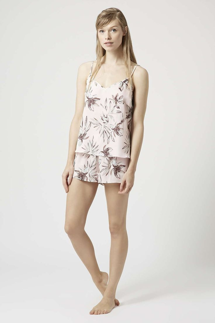 Leaf Print Cami and Shorts Pyjama Set