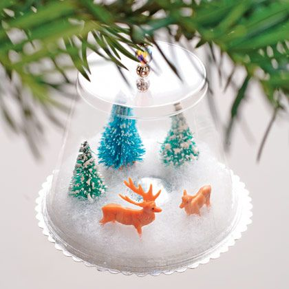 DIY ornament. Made with a plastic cup, batting, and somemini animals :)