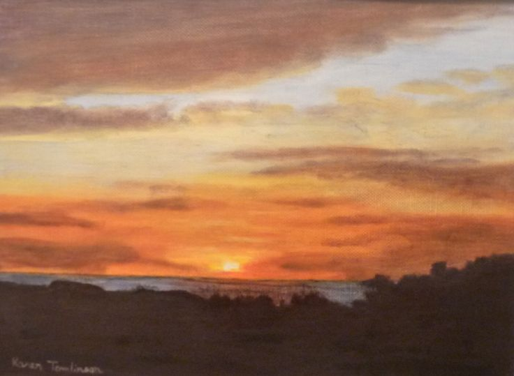 Hawaiian sunset original oil on canvas paper 9x13. Reference photo by Kathleen Teshe