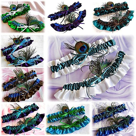 Peacock garters bridal garters peacock feathers   by All4Brides, $35.00