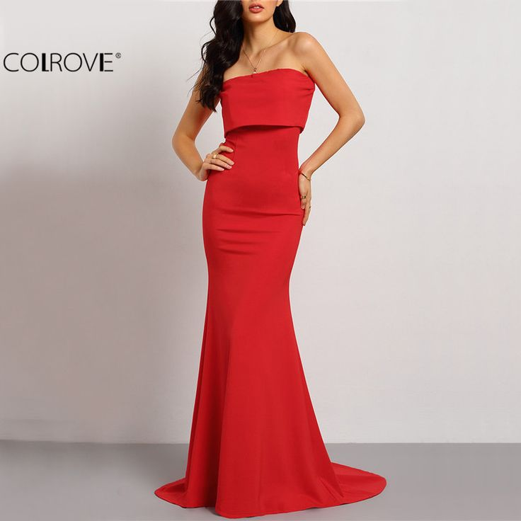 Colrove летний стиль элегантный сексуальный случая красный без бретелек длинные платья 2016 новое поступление новый рукавов длинное платье