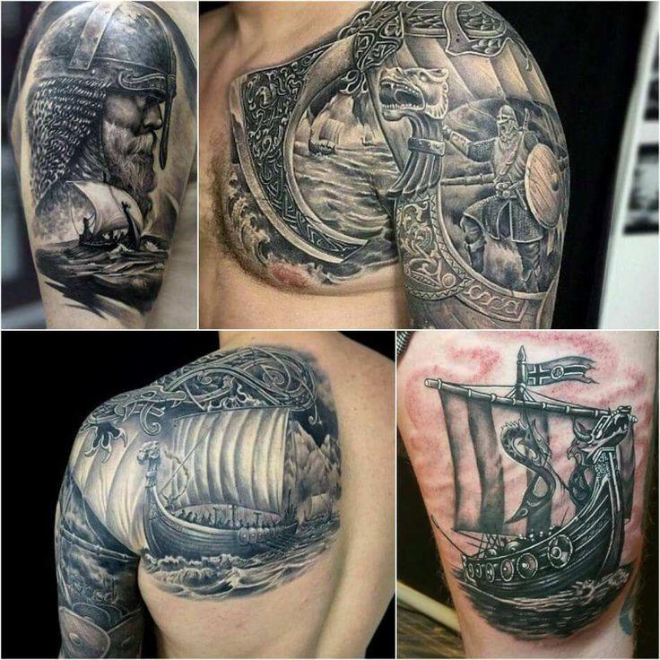 Viking ship tattoo for men on the upper arm unn to shoulder