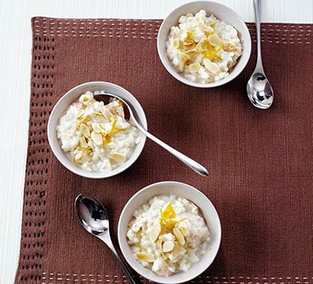 Apricot & orange rice pudding- substitute milk for hazelnut and reduce liquid ratio (circa 1/4 less)