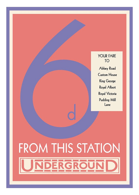 """London Underground Tube Fare Poster Vintage Print This is a reproduction of a fare sign that was used in the London Underground to inform passengers of the fare from a station to other stations on the line.   The original posters were used in the 1920s and 30s. The """"d"""" stands for pence/penny, and compared to today's fares on the tube, is a real bargain.   This poster is printed on 11x14 archival paper that produces rich colors and retains its beauty for decades."""