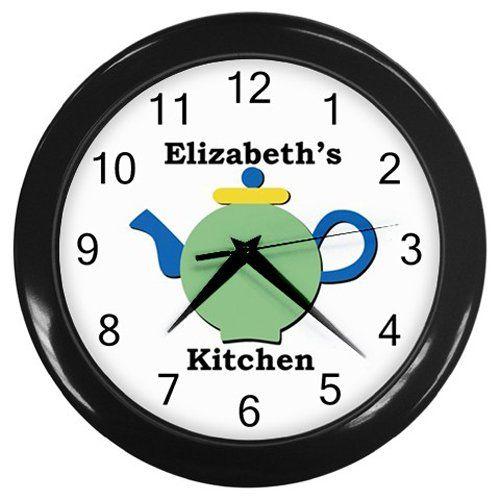 Personalized+Round+Teapot+Kitchen+Wall+Clock
