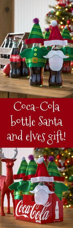 Dress up some Coke bottles with this fun Santa and elves gift! Makes a perfect gift idea for a neighbor; free template included! via @modpodgerocks