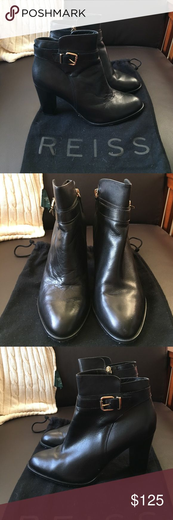 REISS Women's Black Imogen Stack Heel Ankle Boots REISS Women's Black Imogen Stack Heel Ankle Boots - Size 40 (Fits my size 9/9.5 Feet) - One of the boots' leather is more worn (crinkled) as shown in photos Reiss Shoes Ankle Boots & Booties