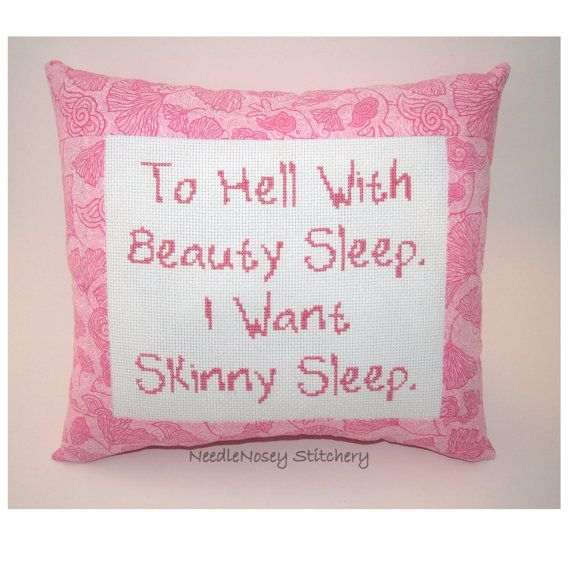 Funny Cross Stitch Pillow Pink Pillow Skinny Quote by NeedleNosey, $20.00
