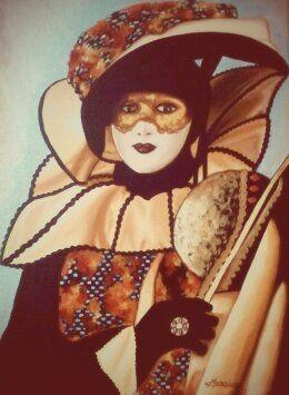 Masque de Venise en satin orange, peinture acrylique Christine Monsion