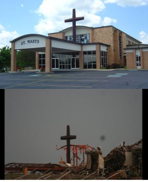 Before & After Pictures Of Joplin, Missouri ....Mom's church...