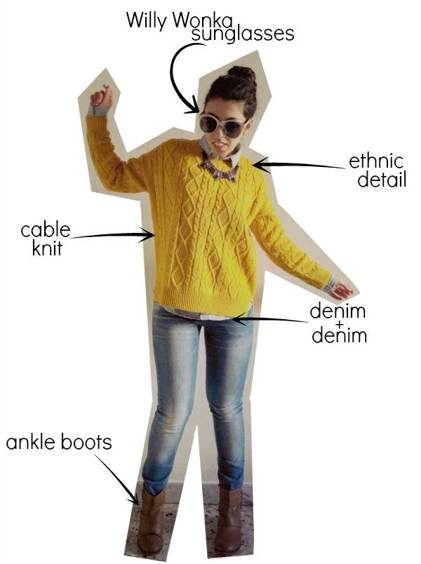 lowbudget-lowcost: Outfit maglione giallo+denim su denim