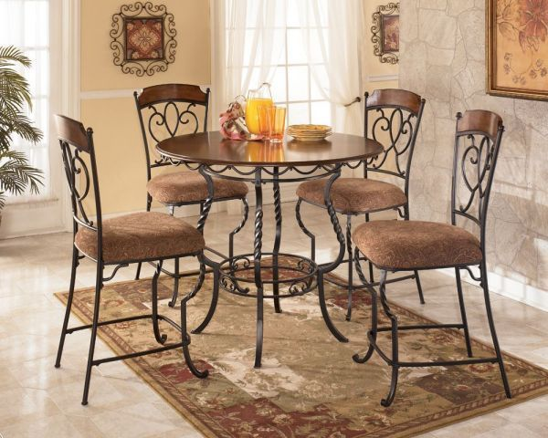 Signature Design By Ashley Nola Counter Height Dinette Set With Chenille Chair Cover Inlaid Veneer Wood Top And Tubular Metal In Warm Brown
