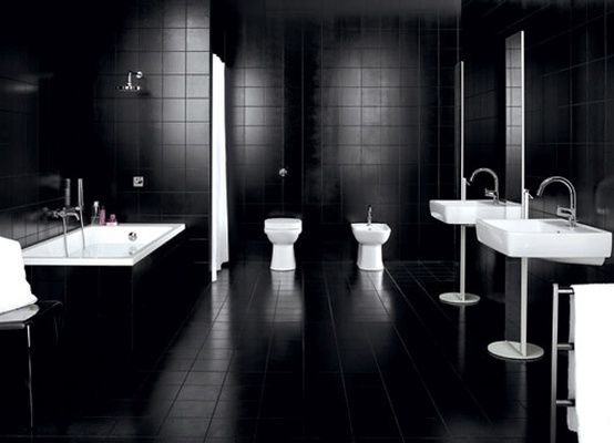 Deluxe Black Bathroom Idea With Black Wall Paint Color And Double White  Toilet Also Double Stylish Sink And Calm Faucet Design And Awesome Bathtub  Also Tub ... Part 47