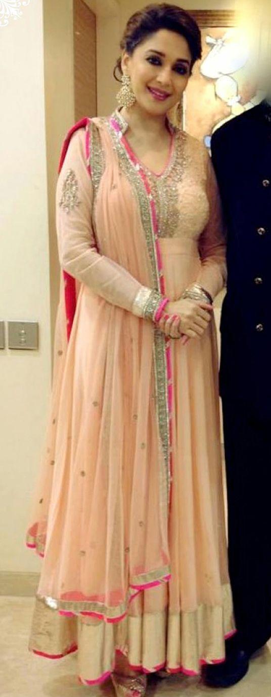 Madhuri Dixit Peach Net Long Anarkali Suit 32760