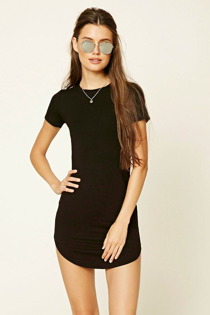 $10.90 knit t-shirt mini dress featuring a scoop neckline, curved hem, and short sleeves.