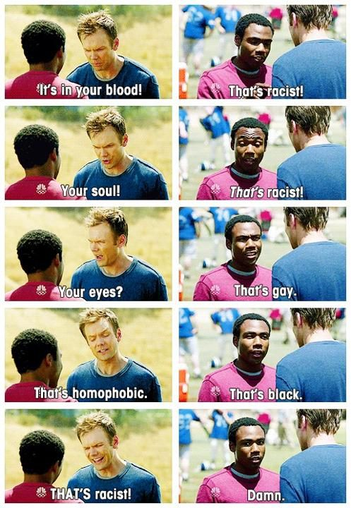 Funny bit about racism and other stuff from the show Community.