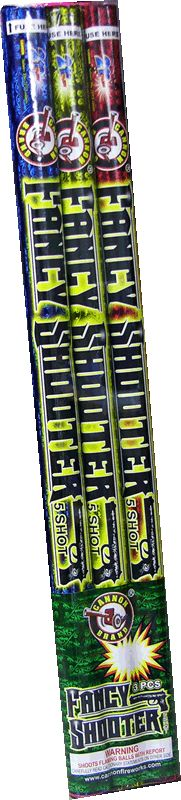 Fancy Shooter 5 Ball - North Central Industries - www.greatgrizzly.com - MUNCIE INDIANA WHOLESALE FIREWORKS •Category: Roman Candles •Item Number: 1623 •Package Contents: 32-3 •Dimensions: 20 x 3x 1 •Weight: 30lbs Brand Name: Cannon (NCI Exclusive)  DESCRIPTION: Exclusive item from Cannon will stun you with artillery shell caliber breaks and alternating fish effects!  Roman candles are not meant to be handheld.