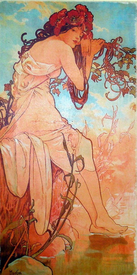 Mucha Seasons Summer Art Painting Print Ready to by FineArtRedux
