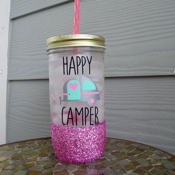 Happy Camper Glitter Mason Jar Tumbler // Glitter by ChloeLayneCo