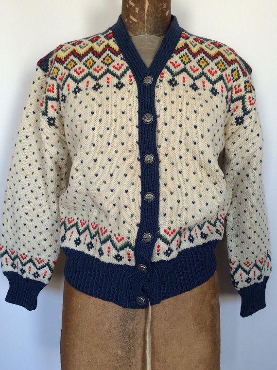 Vintage Wool Norwegan Cardigan Sweater by BrocanteBedStuyHOMME