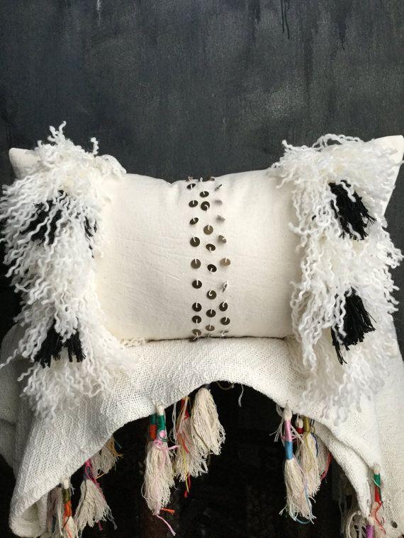 Black White Moroccan Wedding Blanket Inspired Pillow | Boho Pillow | Brass Coins | Handira | Cream Cotton | Fringe | Tassel | African