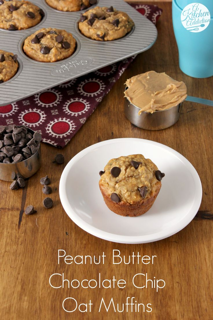 Peanut Butter Chocolate Chip Oat Muffins - filled with oats, wheat flour, peanut butter, and yogurt so you can feel good eating them! from @Jess Pearl Liu l A Kitchen Addiction