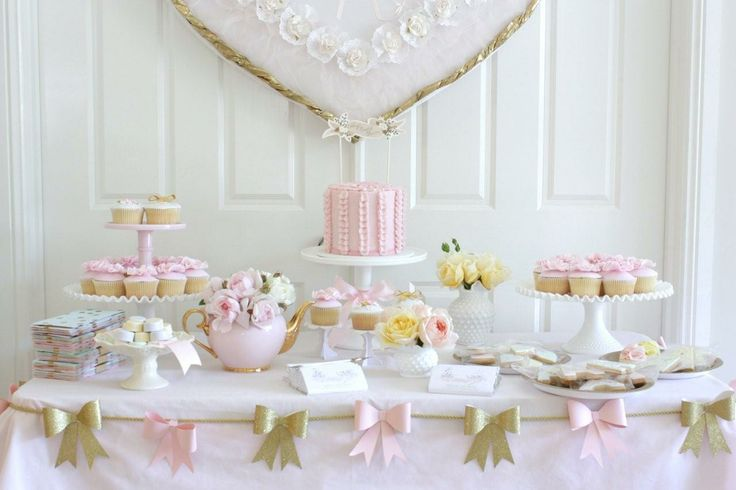 The PRETTIEST pastel baby shower - pale pink and gold