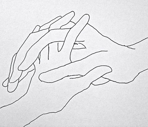 Drawing Lines On Your Skin With My Fingertips : Intertwined hands charcoal line drawing on paper