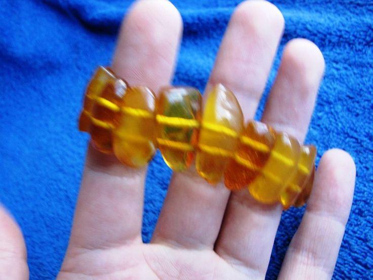 Natural Baltic Amber 22 gr bracelet yellow cognac Butterscotch 老琥珀 USSR #Handmade