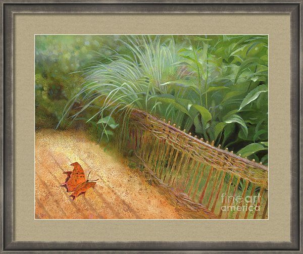 """""""Butterfly In A Small Zen Sand Garden"""" is a print on Fine Art America. Click the image to see it, then choose your own mat, frame, and print size. This wood frame is SLW6 Slimwoods with black/silver finish, one inch wide (in the """"Gray"""" drop-down menu). Print size as shown is 20 x 16 inches, with 2-inch mat of color Pewter. Art © Nancy Lee Moran ☺ The white """"Fine Art America"""" logo does NOT appear on items that you purchase. #artprint #zengarden"""