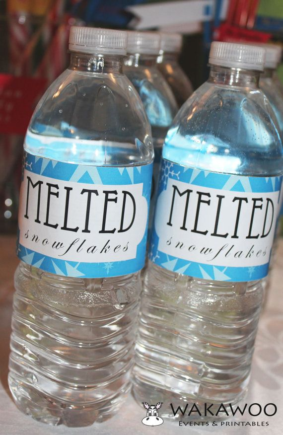 Melted Snowflakes Water Bottle Label Printable From