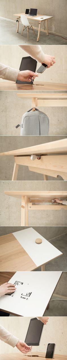 mesa de escritório, otimizada, madeira, lugar pra pendurar mochila, porta celular, faça você mesmo, ideias pra móveis, organização.