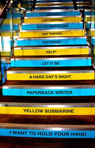 Beatles Staircase #dailyshoot #Liverpool  Was in liverpool and only had a few hours, so I went to the Beatles story on pierhead. As I walked in I saw this amazing staircase at the entrance. Loved the idea of walking up the steps of the songs. As an image loved as always the repeating patterns and the composition of the image. Switched off my flash to allow depth of field and contrast.