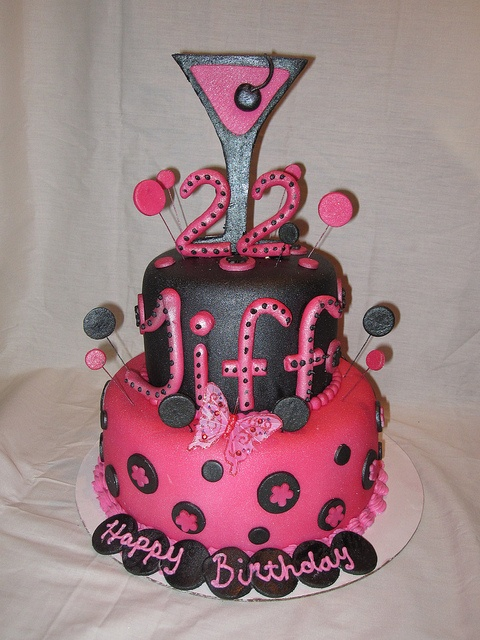 Martini Polka dot black and hot pink 22 birthday cake by Charley And The Cake Factory, via Flickr