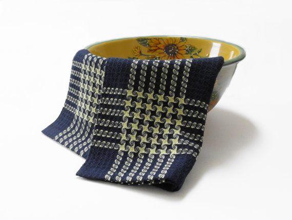 Navy with Lime Stars Tea Towel Handwoven Tea Towel by WovenBeauty
