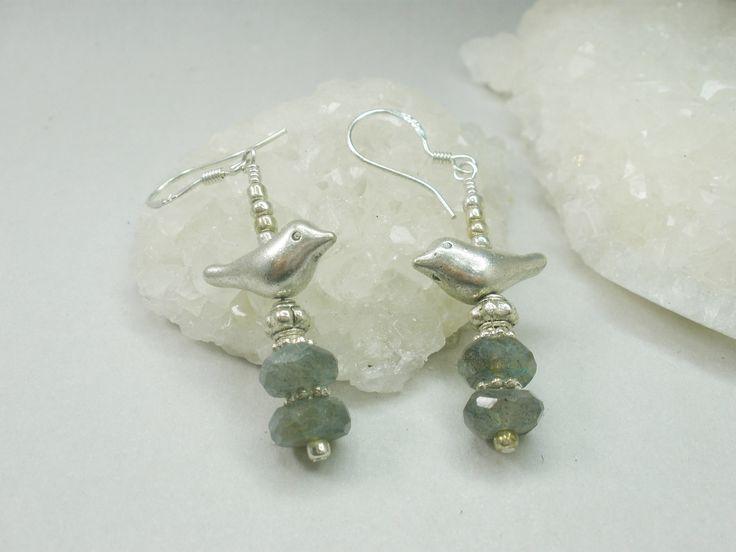 Labradorite and bird earrings, gemstone, bird earrings, bird on a perch, bird lover, unique earrings, bird jewelry, beach, artisan earrings by ArtandSoulStudios on Etsy