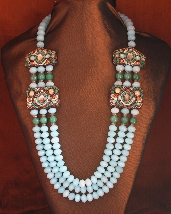 Blue Amazonite & Green Jade Necklace